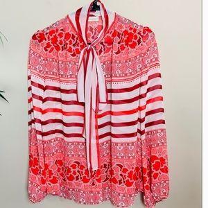 Eva Mendes pink print long sleeve shirt size XL